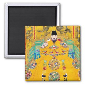Cool oriental classic chinese woodcut emperor art 2 inch square magnet