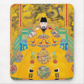 Cool oriental classic chinese woodcut emperor art mouse pad