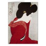 Cool oriental classic geisha lady woodprint art stationery note card