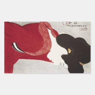 Cool oriental classic geisha lady woodprint art rectangular stickers