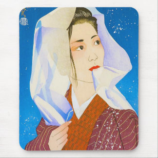 Cool oriental classic japanese lady with tissue mouse pad