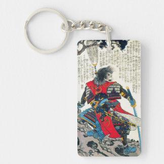 Cool oriental classic japanese samurai warrior art Double-Sided rectangular acrylic keychain
