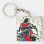 Cool oriental classic japanese samurai warrior art Double-Sided square acrylic keychain