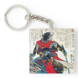 Cool oriental classic japanese samurai warrior art Double-Sided square acrylic keychain