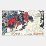 Cool oriental classic japanese samurai warrior art rectangular sticker