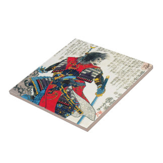 Cool oriental classic japanese samurai warrior art tile
