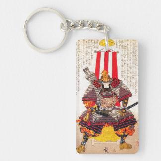 Cool oriental classic japanese samurai warrior Double-Sided rectangular acrylic keychain