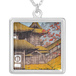 Cool oriental classic japanese temple painting silver plated necklace