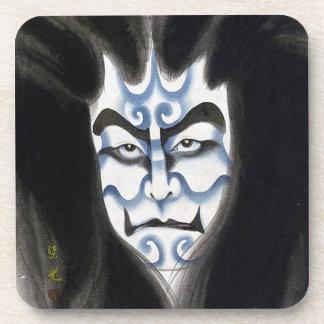 Cool oriental classic kabuki deamon makeup art beverage coaster