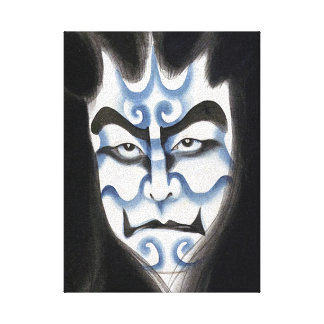 Cool oriental classic kabuki deamon makeup art canvas print