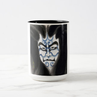 Cool oriental classic kabuki deamon makeup art Two-Tone coffee mug