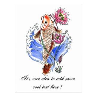 Cool Oriental Classic Koi Carp Fish Lotus tattoo Postcard
