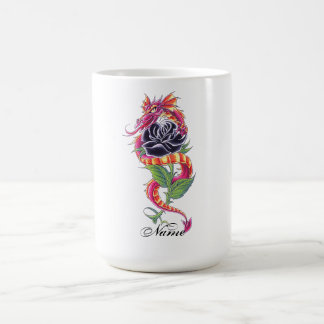 Cool Oriental Dragon and Black Rose tattoo Coffee Mug