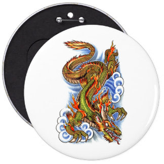 Cool Oriental Dragon and Clouds Button