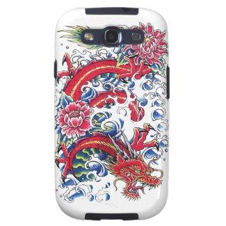 Cool Oriental Dragon Lotus Flower tattoo art Galaxy S3 Cases