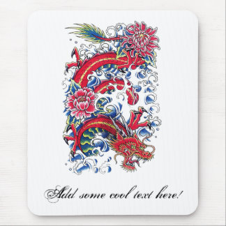 Cool Oriental Dragon Lotus Flower tattoo Mouse Pad