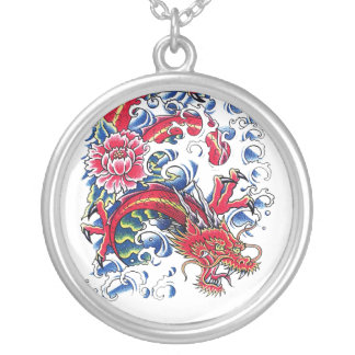 Cool Oriental Dragon Lotus Flower tattoo Round Pendant Necklace