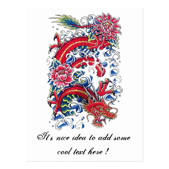 Cool Oriental Dragon Lotus Flower tattoo Postcard