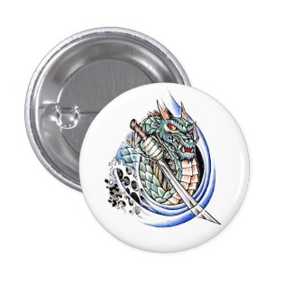 Cool Oriental Dragon with Sword tattoo Buttons