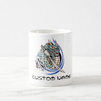 Cool Oriental Dragon with Sword tattoo Coffee Mug