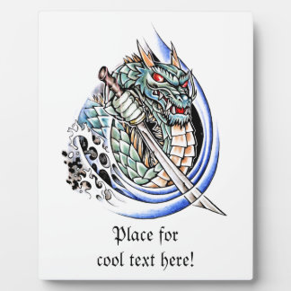 Cool Oriental Dragon with Sword tattoo Display Plaques