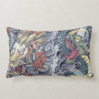 Cool Oriental Dragons tattoo pillow