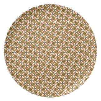 Cool oriental elegant flower shurinken ninja star melamine plate