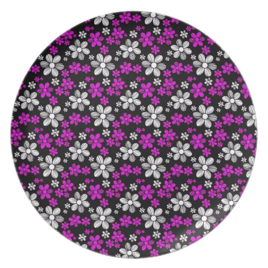 Cool oriental girly daisy flower floral pattern dinner plate