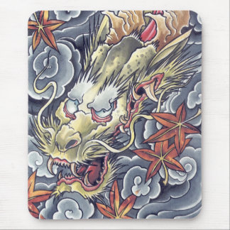 Cool Oriental Gold Dragons tattoo mousepad
