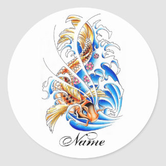 Cool Oriental Gold Koi Carp Fish Water tattoo Classic Round Sticker