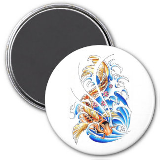 Cool Oriental Gold Koi Carp Fish Water tattoo 3 Inch Round Magnet