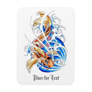 Cool Oriental Gold Koi Carp Fish Water tattoo Rectangular Photo Magnet