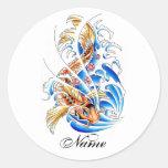 Cool Oriental Gold Koi Carp Fish Water tattoo Classic Round Sticker