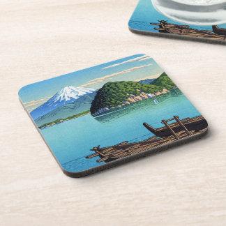 Cool oriental Hasui Kawase Fuji seaside boat art Coaster