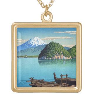 Cool oriental Hasui Kawase Fuji seaside boat art Gold Plated Necklace