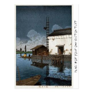 Cool oriental Hasui Kawase rainy day art Postcard