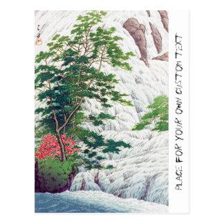 Cool oriental Hasui Kawase river waterfall tree Postcard