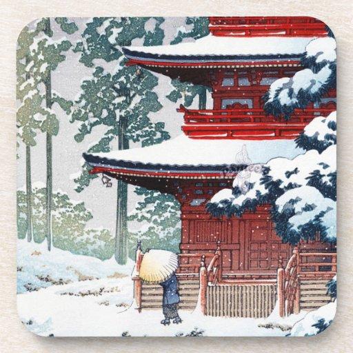 Cool oriental Hasui Kawase Winter scenery art Beverage Coaster