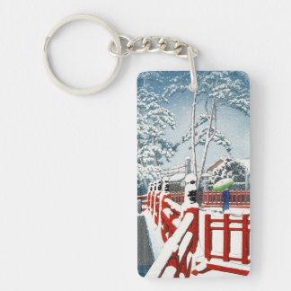 Cool oriental Hasui Kawase winter scenery art Keychain