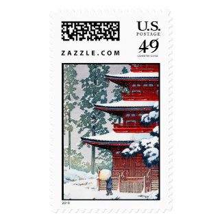 Cool oriental Hasui Kawase Winter scenery art Postage Stamps