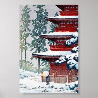 Cool oriental Hasui Kawase Winter scenery art Poster