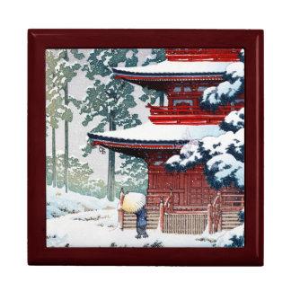 Cool oriental Hasui Kawase Winter scenery art Trinket Box