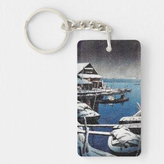 Cool oriental Hasui Kawase winter snow lake scene Double-Sided Rectangular Acrylic Keychain
