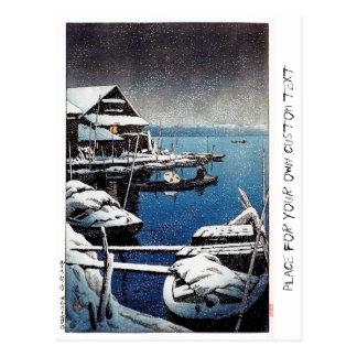 Cool oriental Hasui Kawase winter snow lake scene Postcard