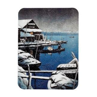 Cool oriental Hasui Kawase winter snow lake scene Rectangular Photo Magnet