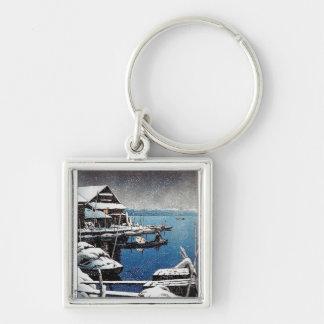 Cool oriental Hasui Kawase winter snow lake scene Silver-Colored Square Keychain
