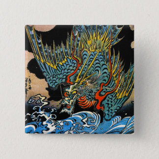 Cool oriental japanese Ancient Legendary Dragon Button