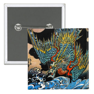Cool oriental japanese Ancient Legendary Dragon 2 Inch Square Button