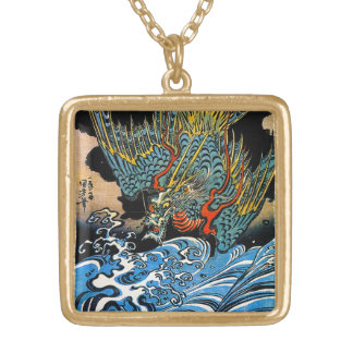 Cool oriental japanese Ancient Legendary Dragon Gold Plated Necklace