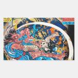 Cool oriental japanese Ancient Samurai demon Fight Rectangular Sticker